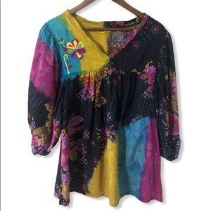 EUC Tianello boho peasant blouse size medium